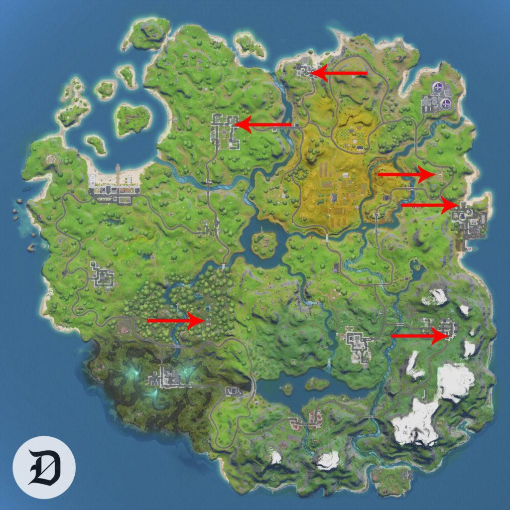 Где найти скамейки апгрейда в Fortnite Глава 2