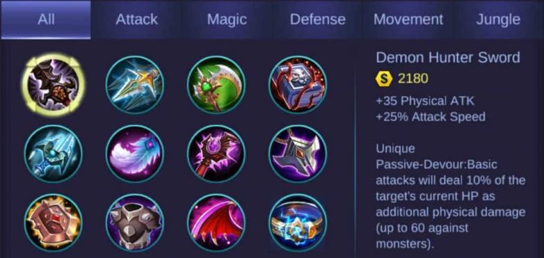 Лучшие предметы для атаки Mobile Legends