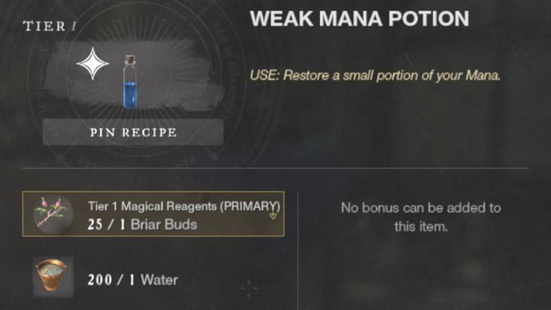 Как получить слабые зелья маны в New World